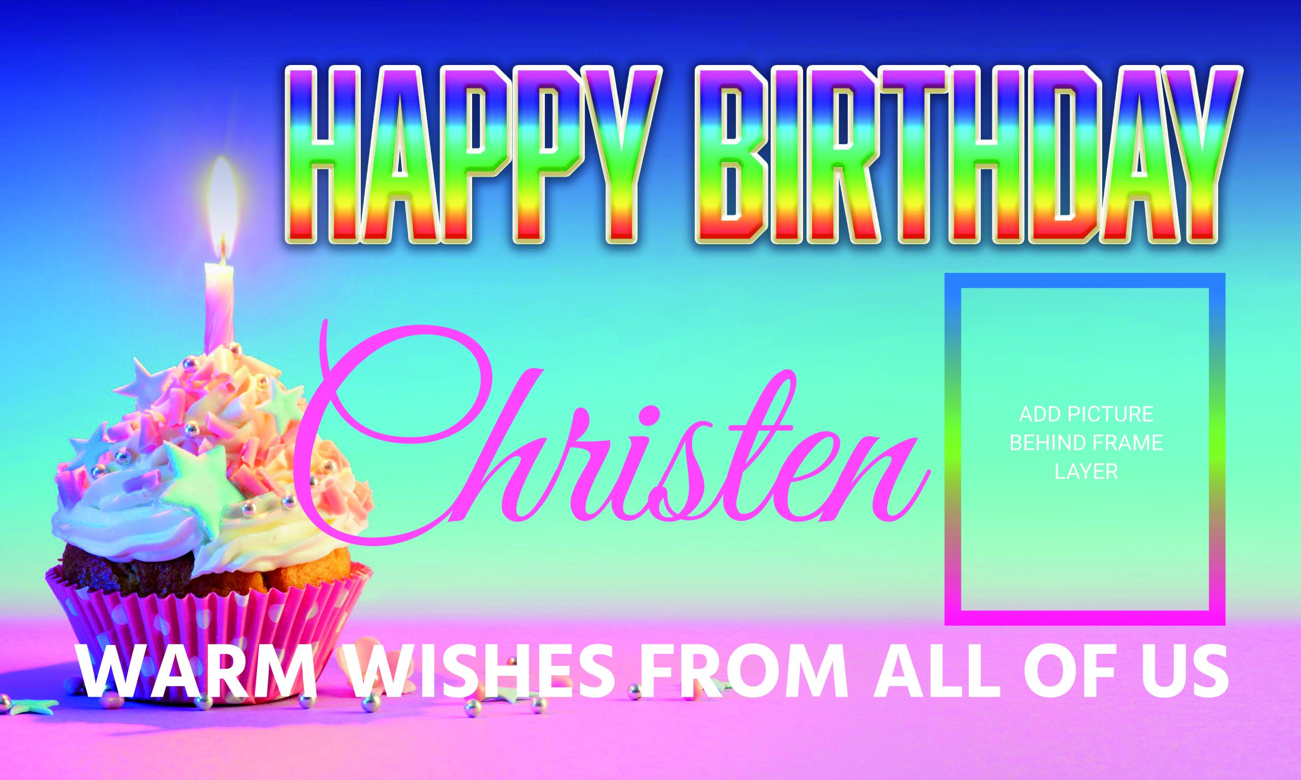 Happy Birthday- Rainbow Cupcake