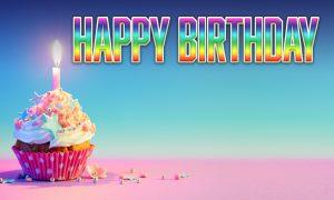 Happy Birthday-Rainbow Cupcake banner