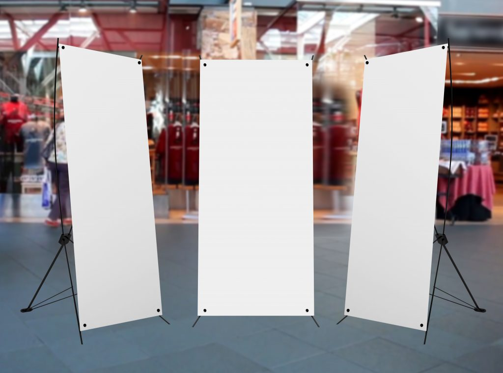 Example Banner Stand added to a background to show what your X Stand Banners will look like when you buy them