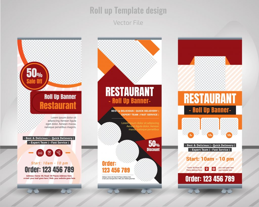 Mock banner stands created in photoshop to show how restaurants buy x stand banners