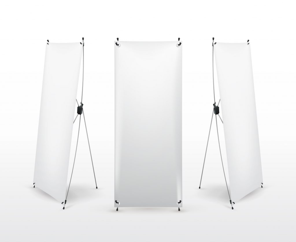 X Stand banners from multiple angles showing the way they are made. - Order an affordable x stand banner today