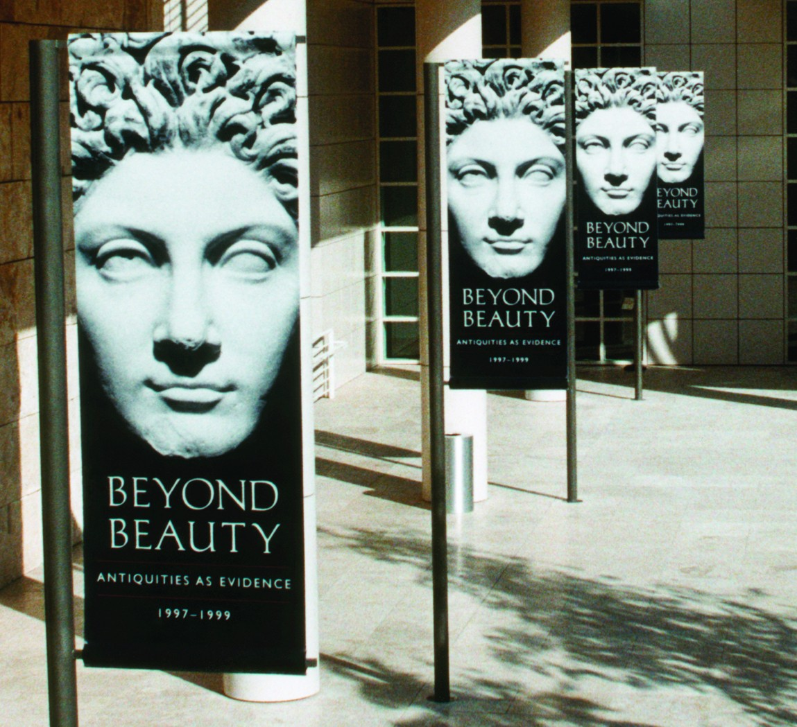 Vertical banners at The Getty, advertising their beyond beauty exhibit - Buy your own affordable vertical banners