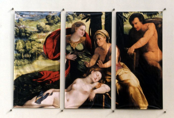 Vertical banners mounted to the wall in a layout that creates a combined painting.