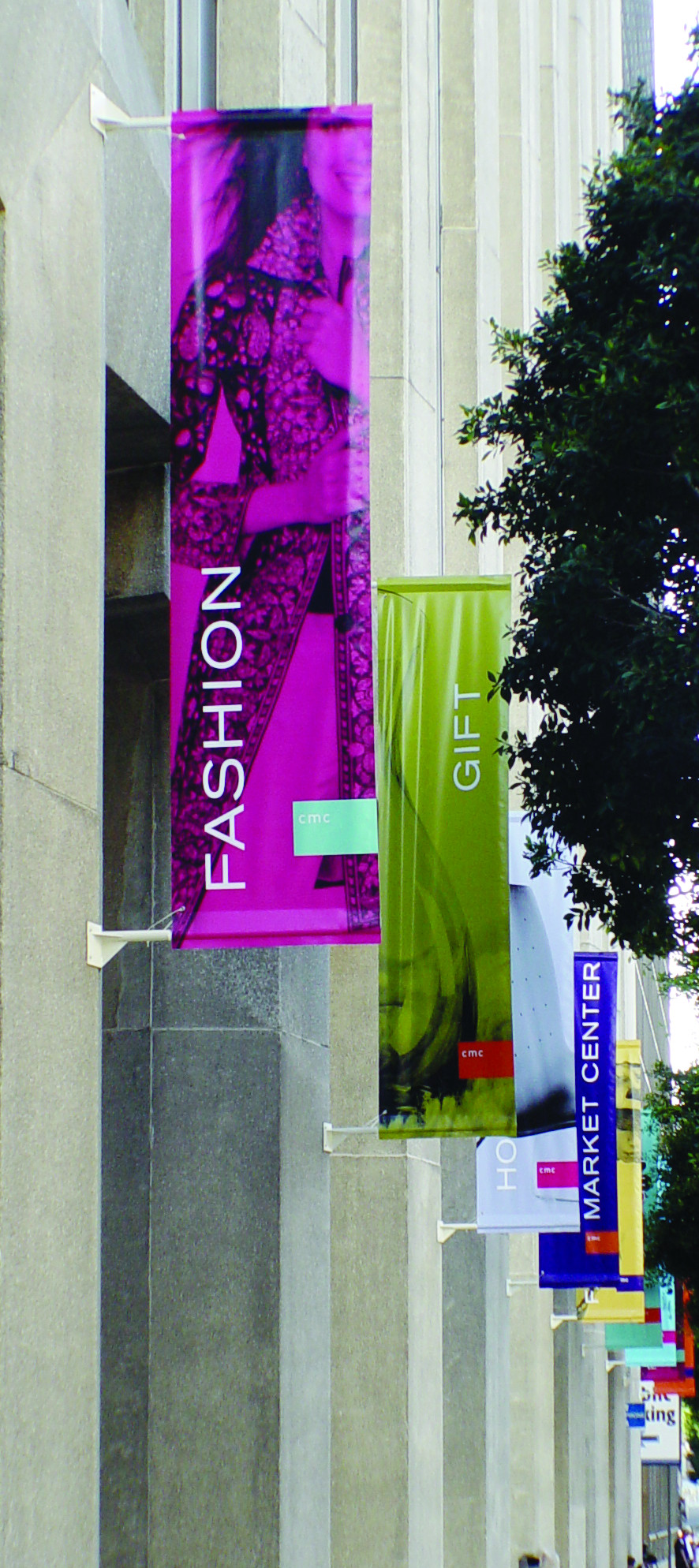 Very long affordable vertical banners with pole pockets showing off a business' amenities