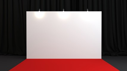 3D Modeling of a blank step and repeat banner behind a red carpet and in front of curtains