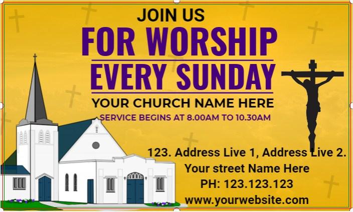 Church Worship Every Sunday Banner!