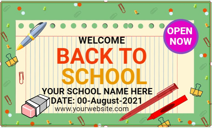 Green Background Back To School Banner!