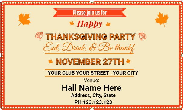 Happy Thanksgiving Party Banner!